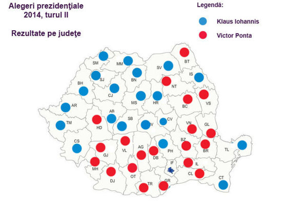 Imaginea articolului REZULTATE ALEGERI PREZIDENŢIALE 2014, turul II - HARTA votului. Klaus Iohannis a câştigat cu peste 70% în unele judeţe