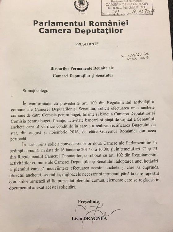 Imaginea articolului DOCUMENT Plen comun al Parlamentului, convocat pentru a încuviinţa anchetarea rectificărilor bugetare făcute de guvernul Cioloş/ PNL, USR şi PMP s-au opus înfiinţării comisiei