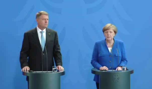 VIDEO Klaus Iohannis: Am discutat cu cancelarul german despre criza politică/ Angela Merkel: E o problemă internă