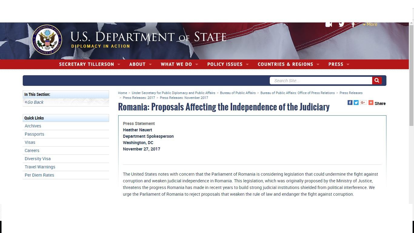 Statele Unite exprimă `preocupare` privind propunerile discutate în Parlament pe tema justiţiei