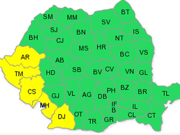 Codul galben de ploi, prelungit �n cinci judete din tara