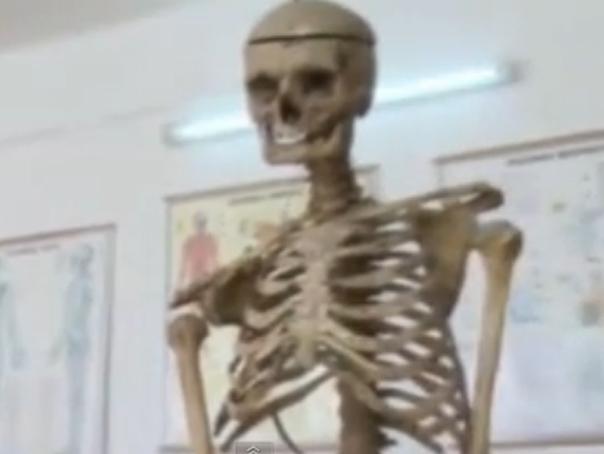Elevii unei scoli din Prahova �nvata anatomie folosind scheletul unui fost director al institutiei - VIDEO