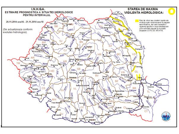 Cod galben de inundatii pe r�uri din Botosani, Iasi, Vaslui, Bacau si Galati