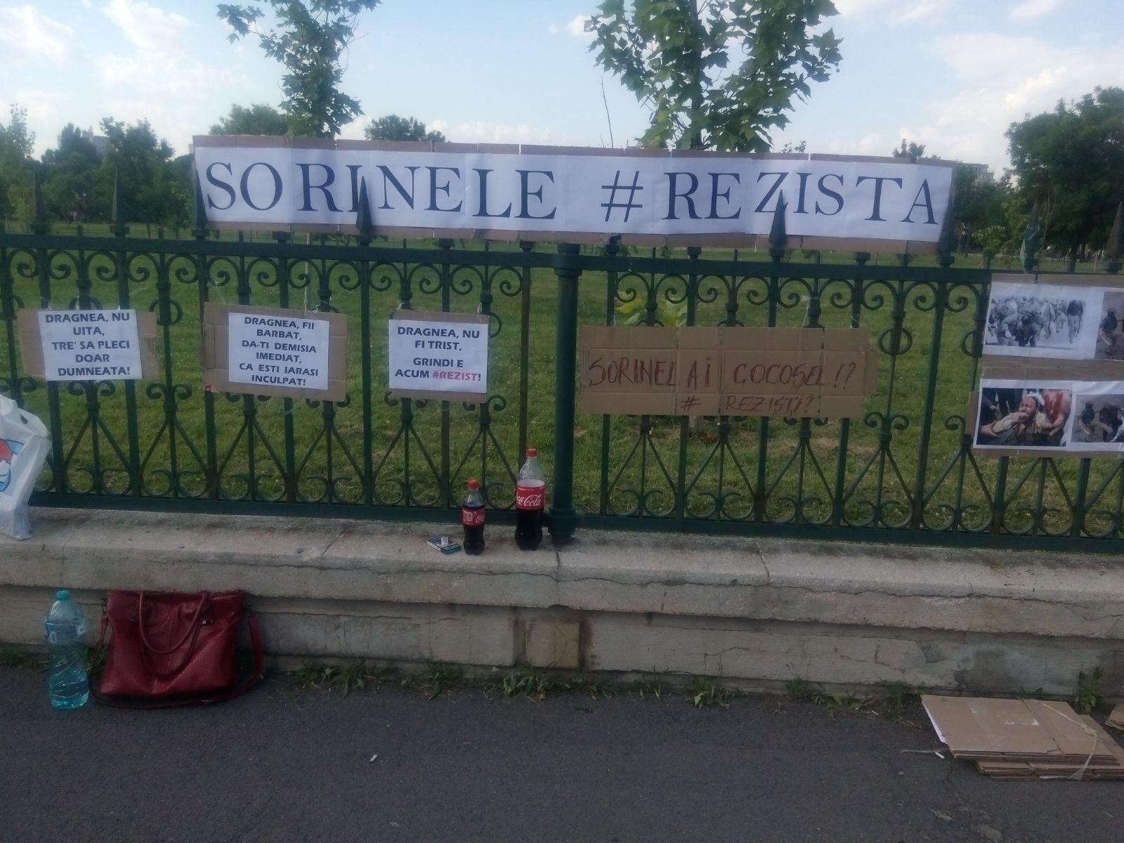 FOTO Mesajul `#rezist` din Piaţa Victoriei, folosit pentru susţinerea lui Grindeanu la Parlament