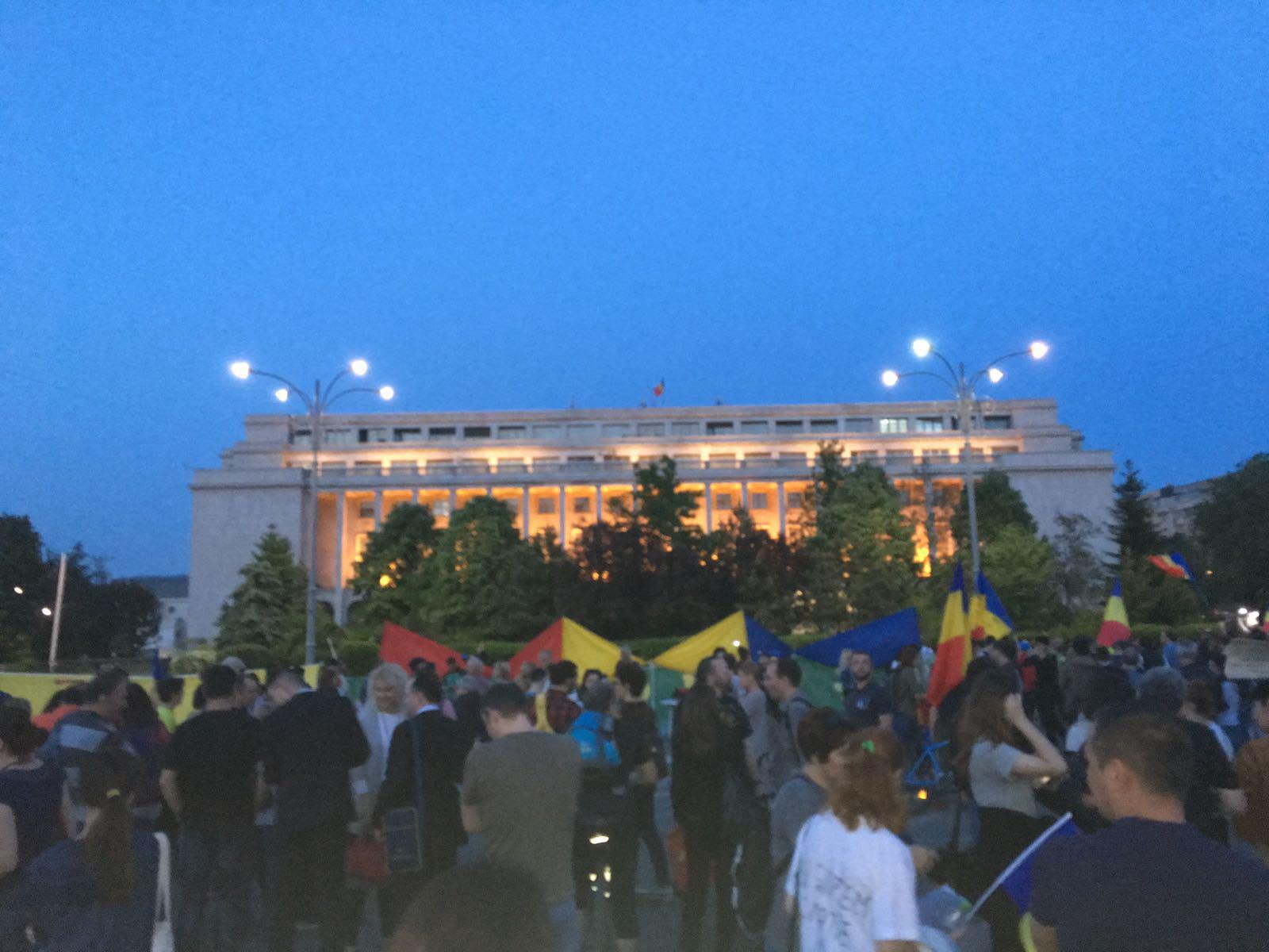 Peste 50 de protestatari se află în faţa Guvernului şi scandează: PSD, ciuma roşie