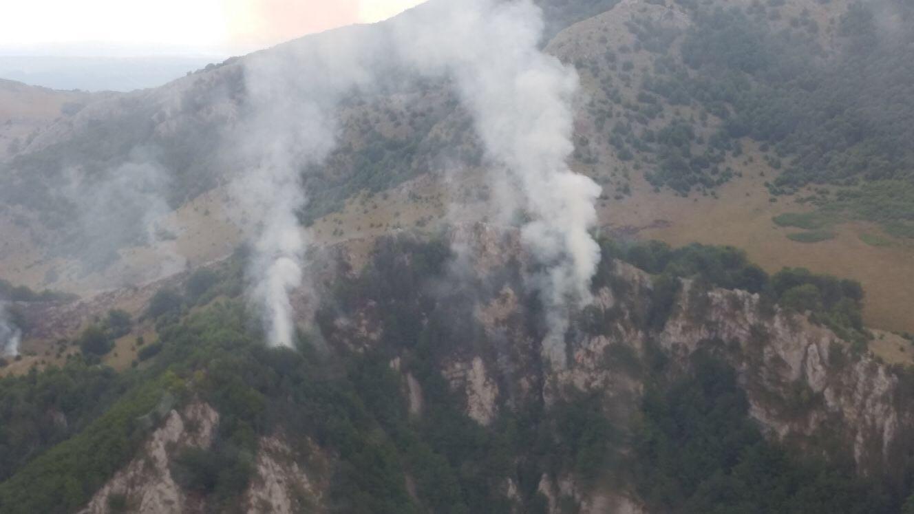 Incendiul din Parcul Domogled, în a treia zi consecutiv: Intervenţia pompierii din Mehedinţi îngreunată de caniculă