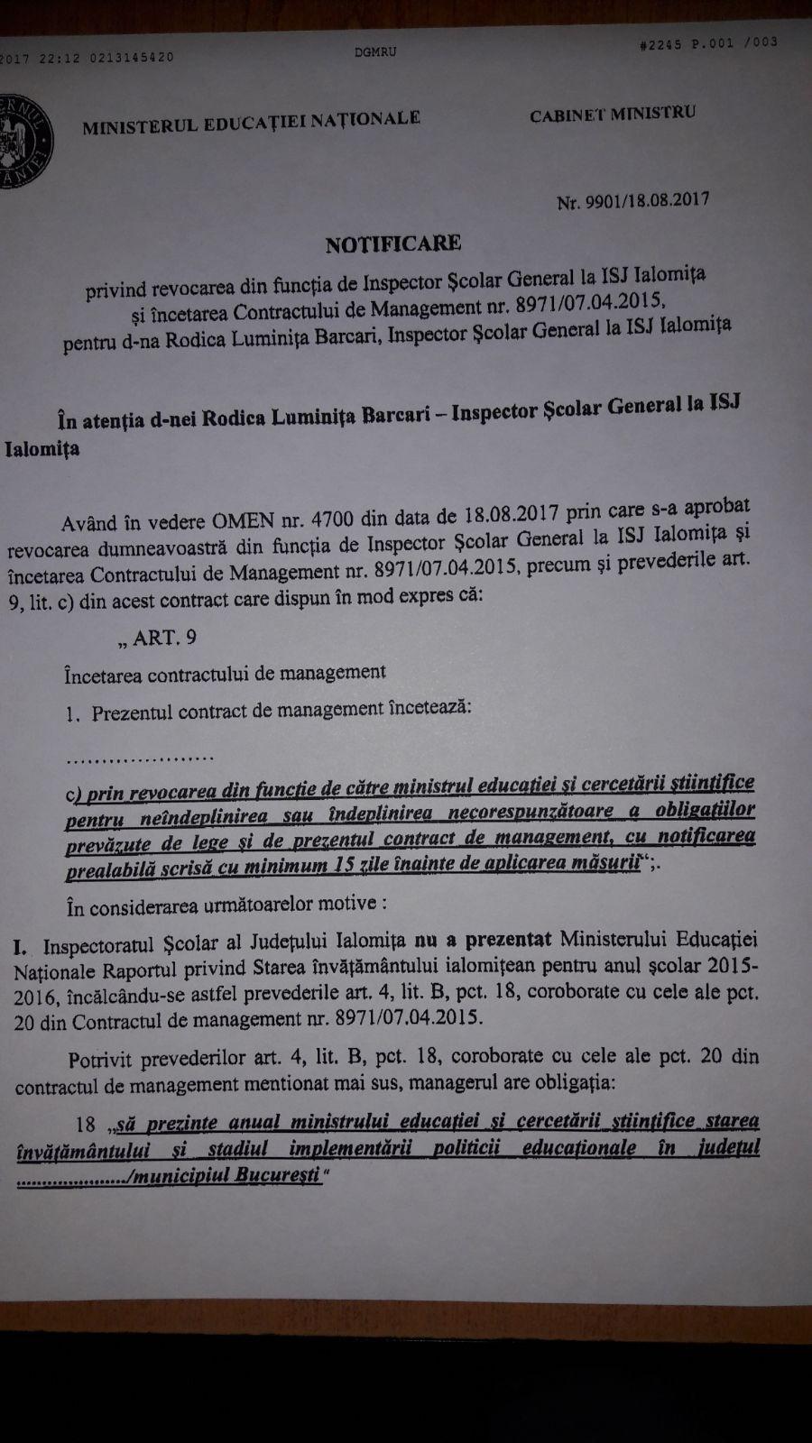 Eroare la Ministerul Educaţiei: Inspectorul şcolar din Ialomiţa, demis pentru greşelile celui din Arad / Cel din Buzău, dat afară printr-o notă ce conţine datele unui coleg din Constanţa