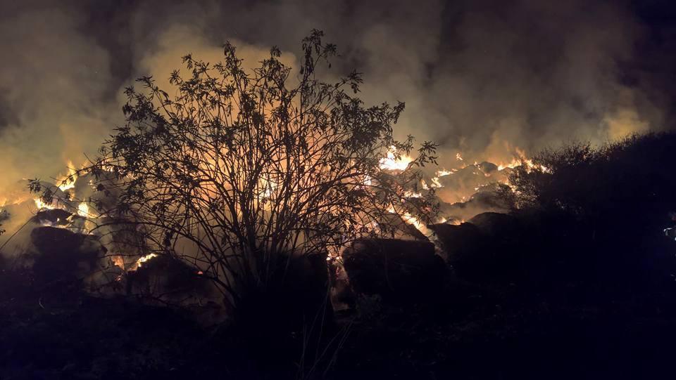 BREAKING: Incendiu puternic la un depozit de furaje din Timiş. Ard baloţi de lucernă şi fân