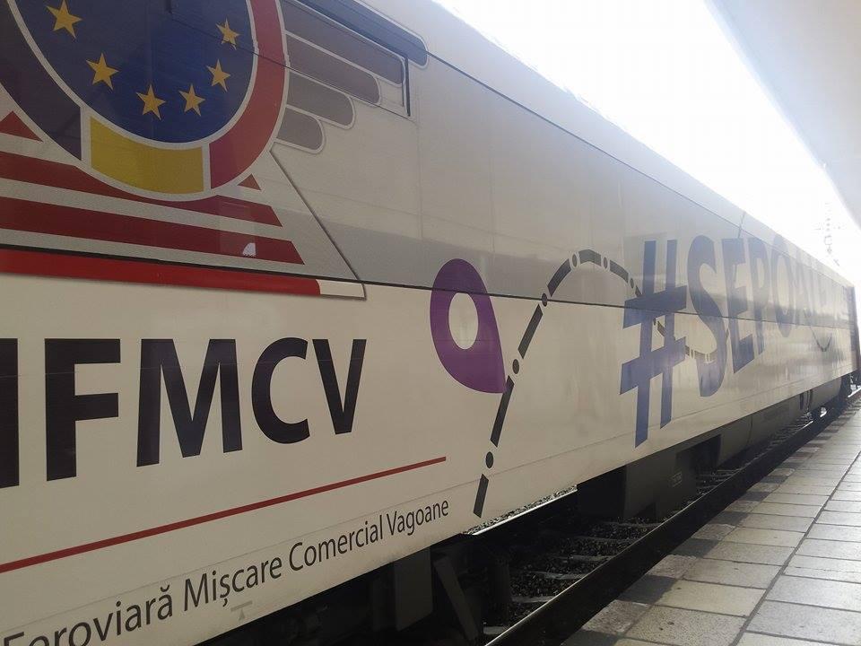 FOTO | Cum arată vagonul modern, cu internet şi aer condiţionat, care face parte dintr-o campanie de susţinere a CFR, pentru obţinerea unor investiţii