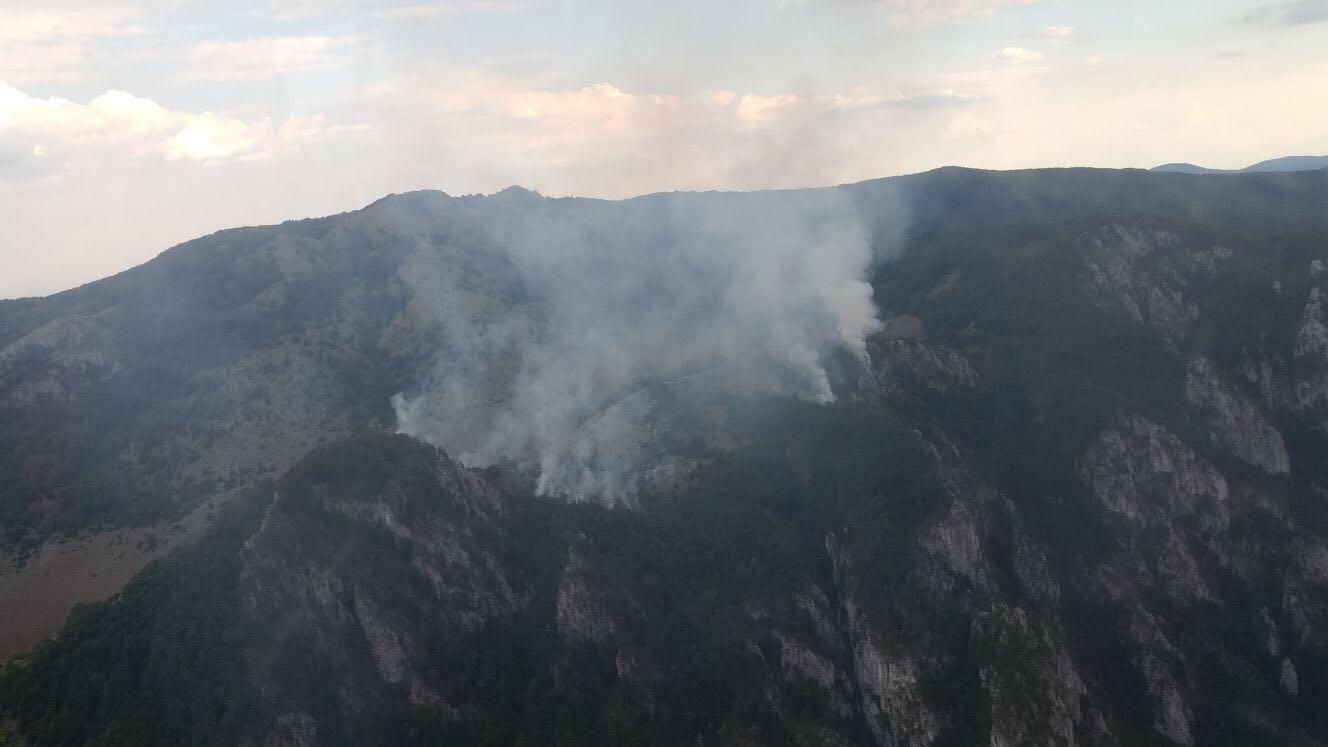 Incendiu în Parcul Naţional Domogled, din jud. Caraş-Severin, fiind afectate 15 hectare de litieră