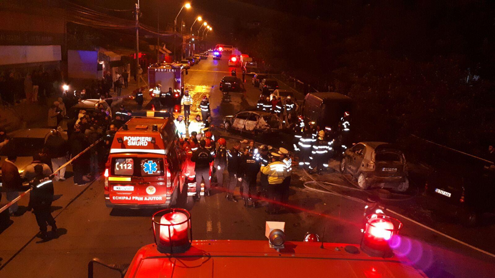 ACCIDENTUL din Capitală în care au ars patru maşini: Tânăra de 18 ani, rănită marţi seara, este în stare foarte gravă | VIDEO