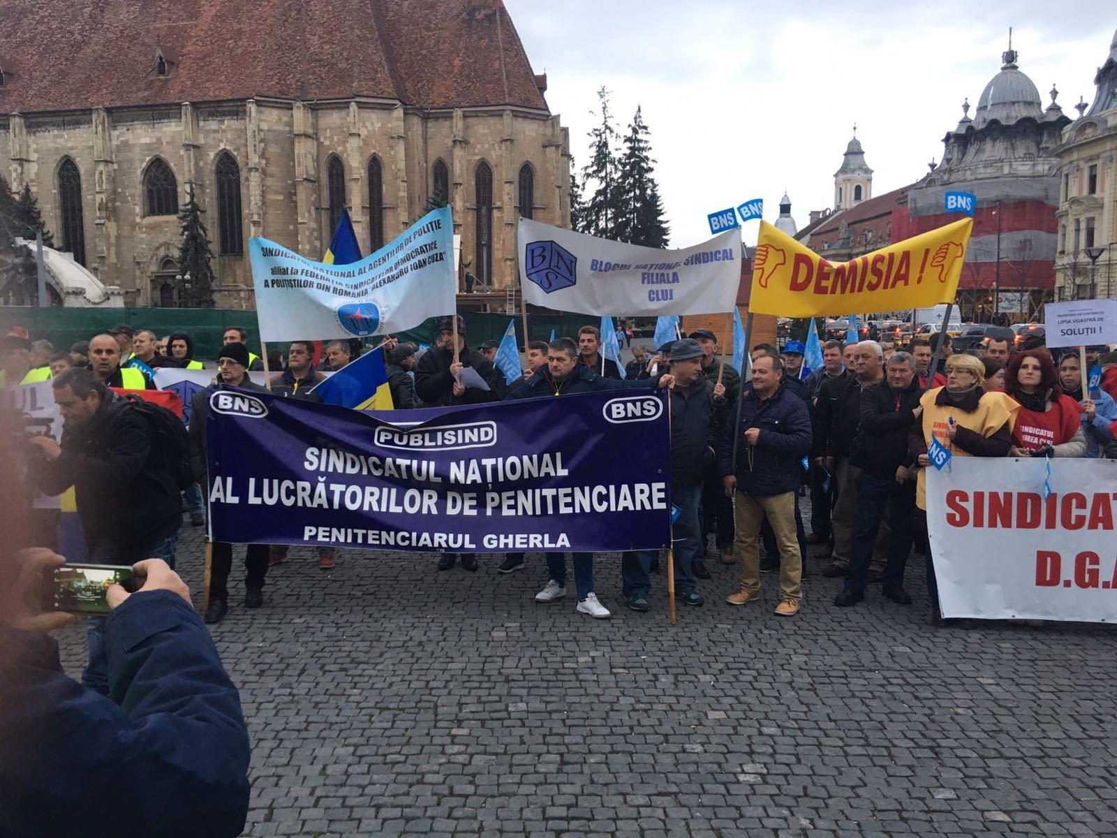 Protest al sindicaliştilor BNS faţă de `Revoluţia fiscală`, la Cluj