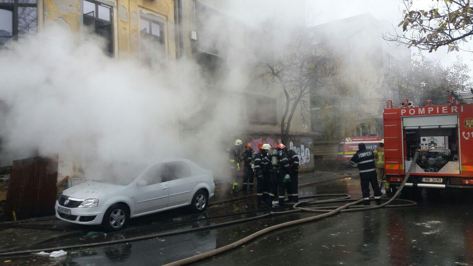 Incendiu în centrul Capitalei. Un bărbat a fost rănit