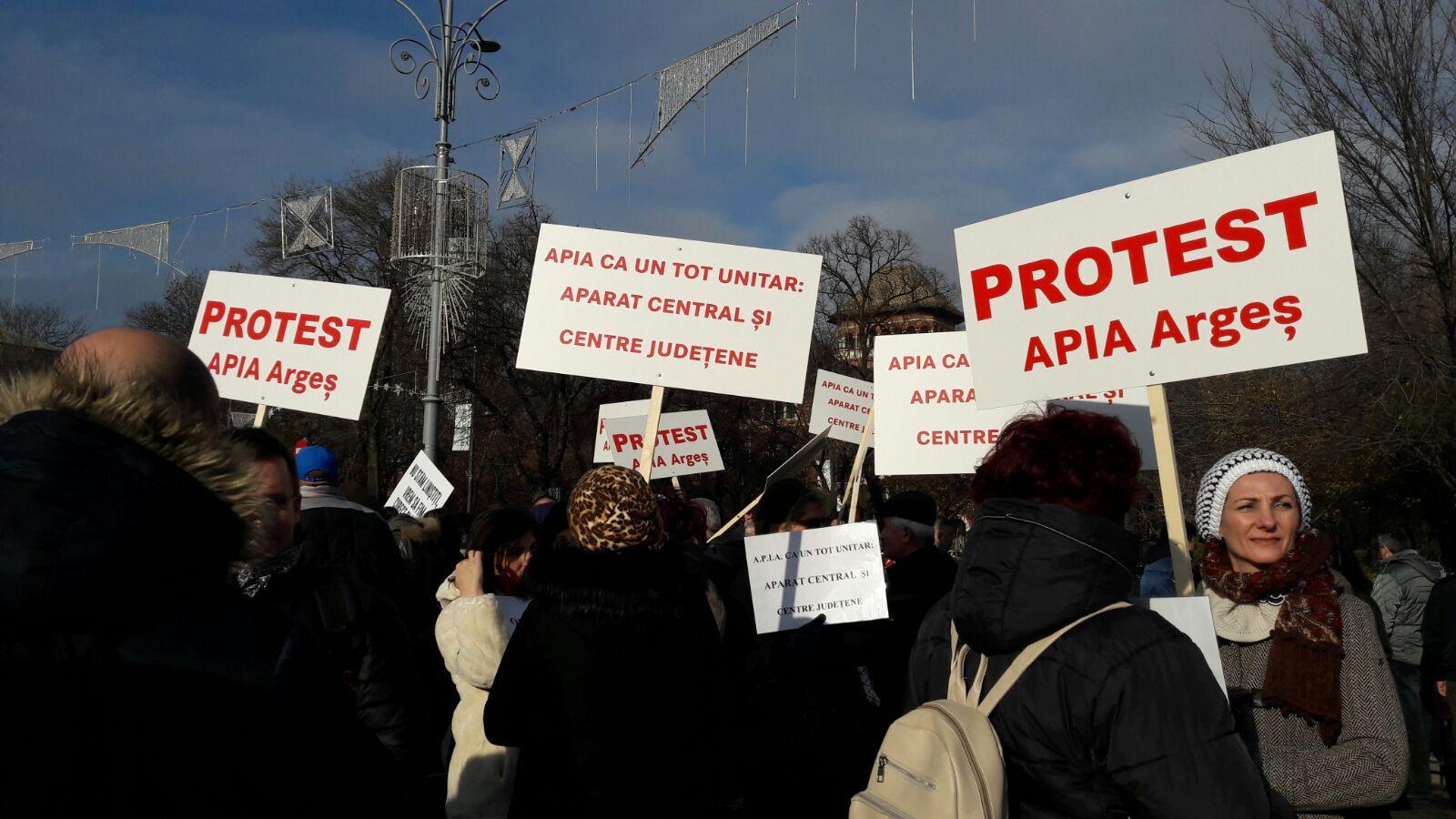 Angajaţii APIA protesteaza în Piaţa Victoriei. Oamenii, nemulţumiţi de grila de salarizare