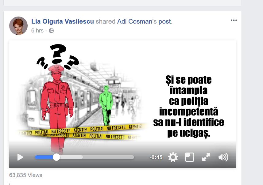 Filmuleţ controversat de susţinere a modificării codurilor distribuit de Lia Olguţa Vasilescu şi apoi şters: Poliţiştii şi procurorii erau numiţi incompetenţi