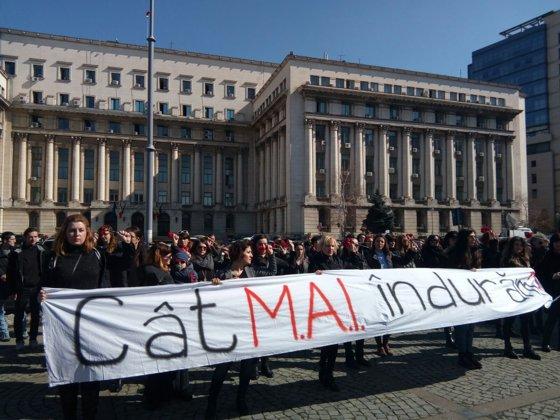Imaginea articolului Protest în faţa MAI, de Ziua Femeii. Participantă: O floare nu justifică violenţa asupra femeii