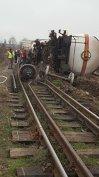 Imaginea articolului Accident feroviar | Două vagoane ale unui tren de marfă au deraiat în Constanţa | FOTO