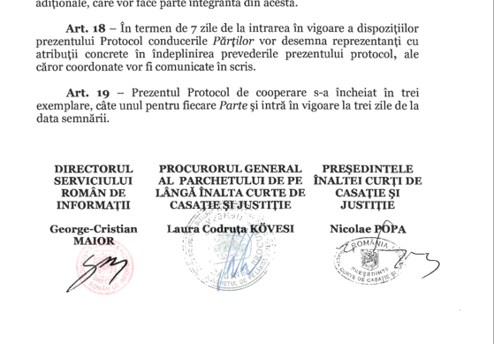 Fostul şef ÎCCJ susţine că nu a semnat protocolul cu SRI. Cristina Tarcea: L-am chemat să clarificăm