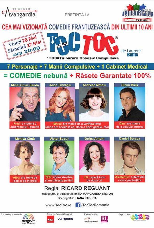 """Imaginea articolului """"TOC TOC"""", comedia franţuzească cu cel mai mare succes din ultimii 10 ani, se joacă pe 26 şi 27 mai, la Cinema Pro"""