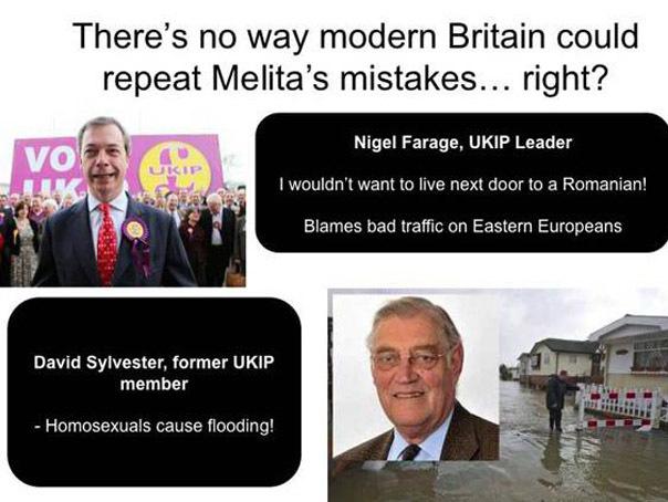 Plângere despre îndoctrinarea politică în şcoli după ce o imagine cu Nigel Farage şi o remarcă la adresa românilor a fost folosită într-o prezentare despre Holocaust