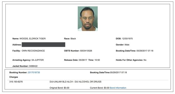 Imaginea articolului Tiger Woods, reţinut luni de Poliţia din Florida, susţine că de vină a fost amestecul de medicamente, nu alcoolul