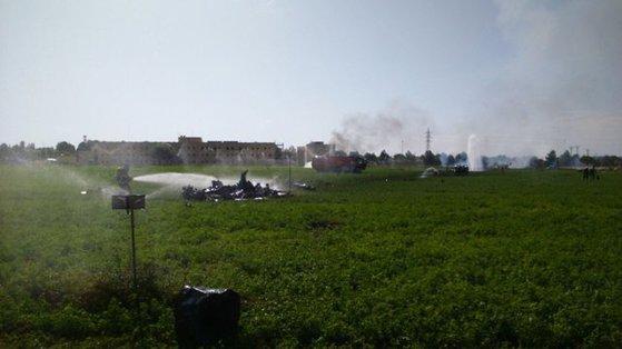 Imaginea articolului VIDEO | Accident AVIATIC de Ziua Naţională a Spaniei. Un avion militar s-a prăbuşit lângă o bază aeriană, după demonstraţia oficială