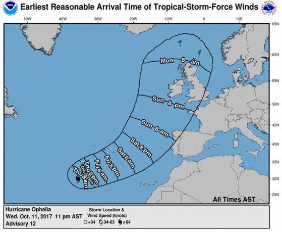 Imaginea articolului Furtuna tropicală Ophelia s-a transformat în URAGAN şi se îndreaptă spre Europa