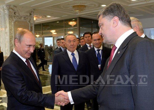 Imaginea articolului Vladimir Putin şi Petro Poroşenko, dicuţie despre implementarea Acordului de la Minsk