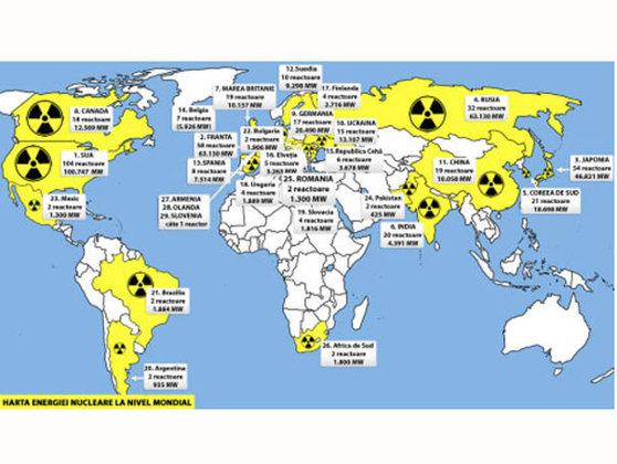 Imaginea articolului Puterile nucleare ale lumii - Harta celor 442 de reactoare de pe Glob