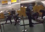 """""""Sunt cetăţean britanic!"""" Orbit de furie, un bărbat bate măr cel puţin trei ofiţeri de poliţie, pe aeroportul din Frankfurt - FOTO, VIDEO"""
