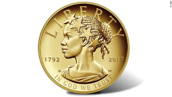 Imaginea articolului Lady Liberty, prezentată pentru prima dată în istorie drept o femeie de culoare, pe o monedă americană