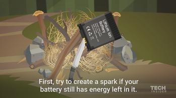 Cum să aprinzi un foc care îţi poate SALVA viaţa cu BATERIA telefonului mobil - VIDEO