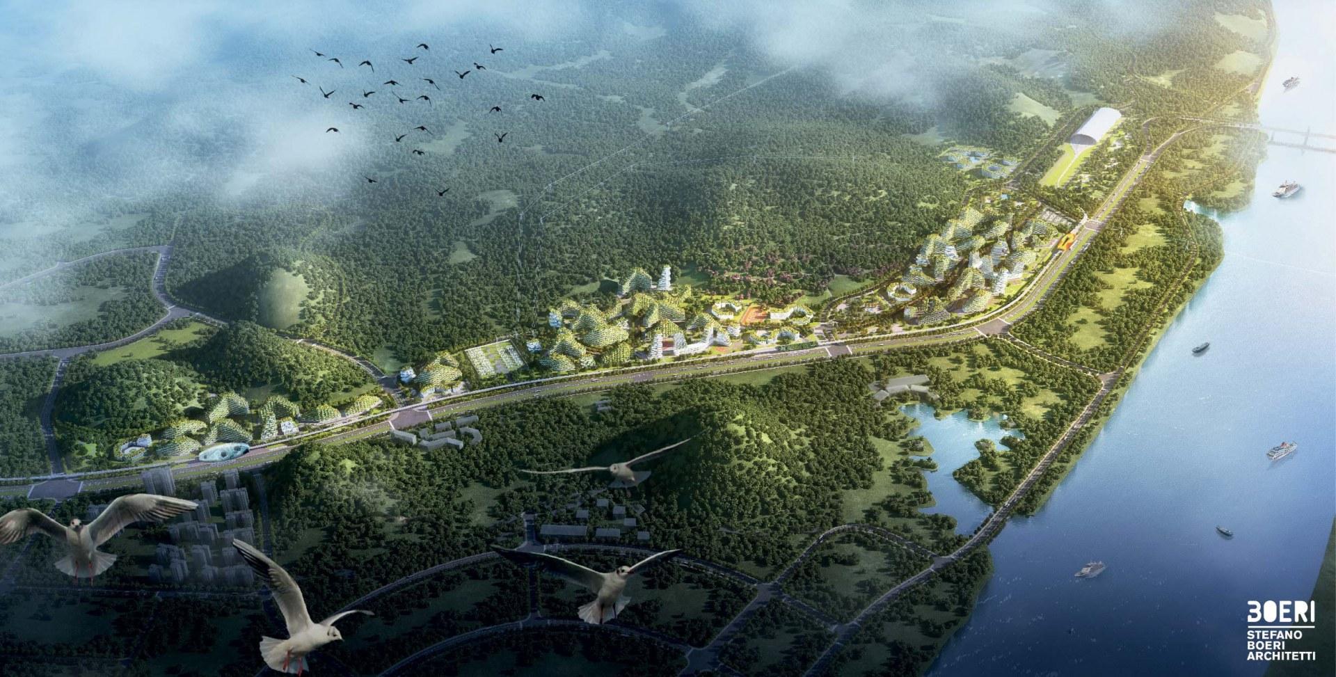 FOTO Cum arata orasul acoperit COMPLET de padure. 40.000 de copaci vor fi plantati pentru a produce 900 de TONE de oxigen anual