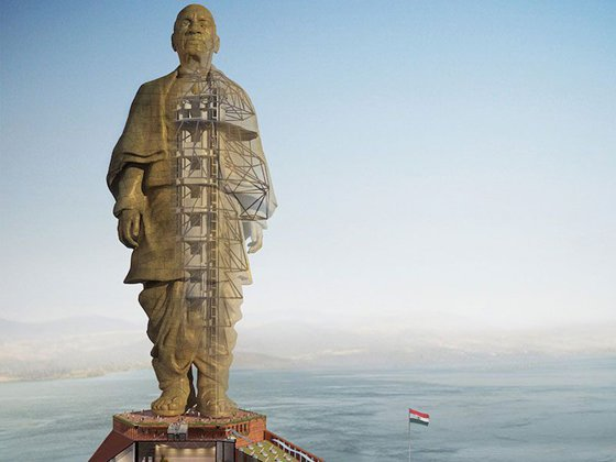 The image of the world's highest statue inaugurated in India. VIDEO