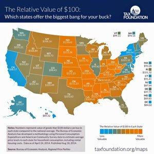 Harta care arată cât valorează de fapt 100$ în fiecare stat din SUA