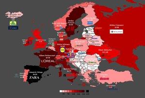 Harta celor mai bogaţi oameni din Europa după ţară şi produsul care i-a făcut celebri. INFOGRAFIC