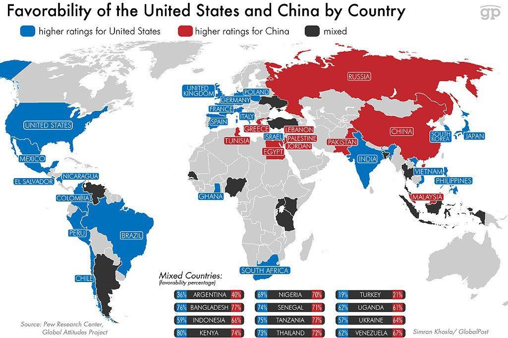 Harta Care Arată Ce ţări Preferă Supremaţia Chinei In Defavoarea Sua