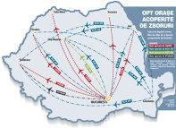 Harta zborurilor interne: Constanţa este pariul transportatorilor în lunile de vară.  Compania românească Blue Air este cel mai activ jucător pe segmentul zborurilor interne, având nouă rute între cele mai importante oraşe din ţară