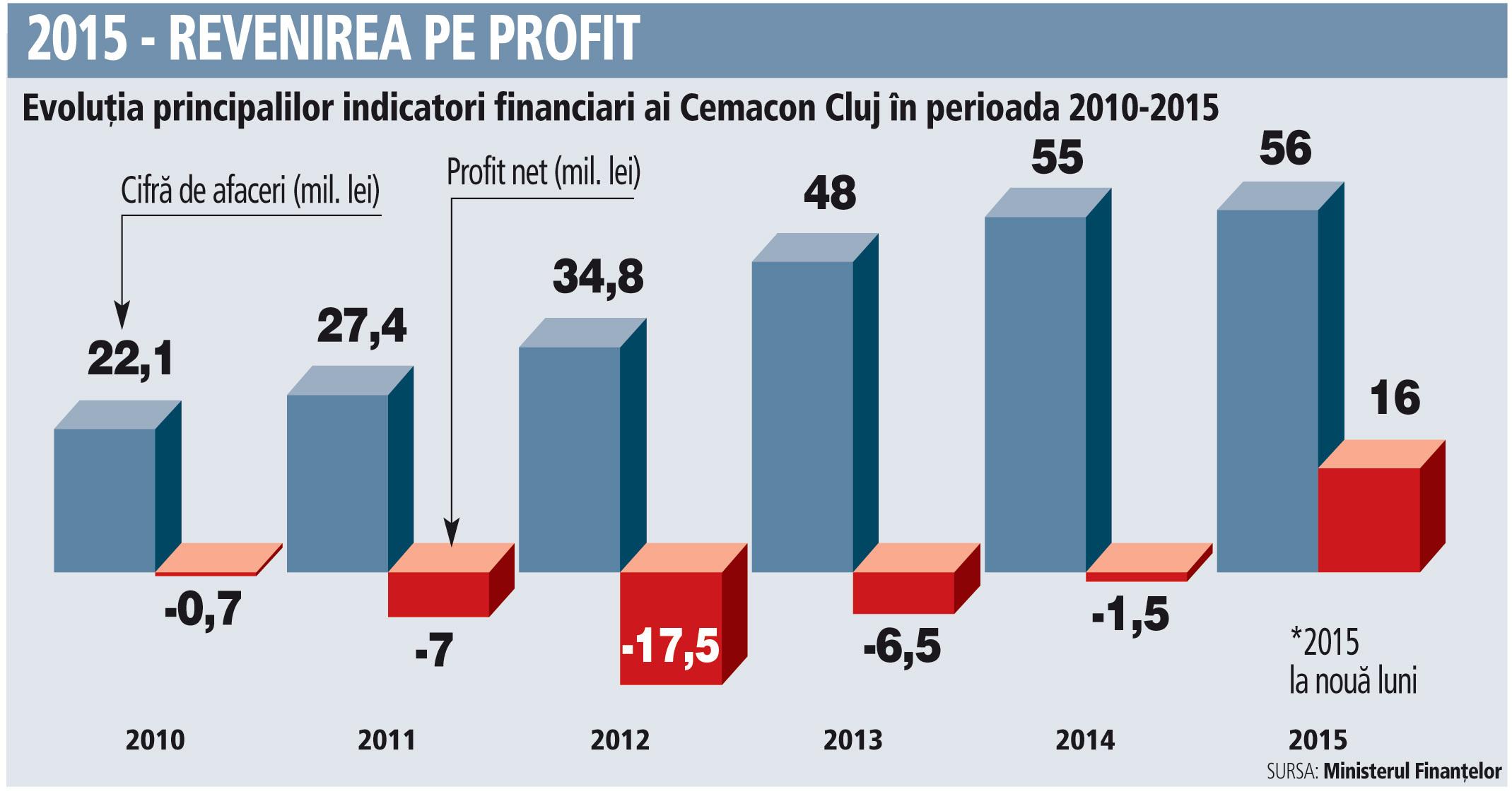 Evoluţia principalilor indicatori financiari ai Cemacon Cluj în perioada 2010-2015