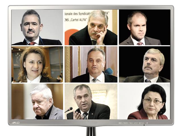 De la stânga la dreapta, rândul de sus: Mihai Tănăsescu, Alexandru Athanasiu, Daniel Funeriu; rândul din mijloc Adriana Ţicău, Gabriel Sandu, Dan Nica; rândul de jos: Şerban Mihăilescu, Valerian Vreme şi Ecaterina Andronescu.