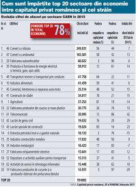 Cum îşi împart firmele cu capital privat românesc şi cele străine top 20 sectoare în economie: Construcţiile, transporturile şi comerţul sunt la români, pe când energia şi industria sunt la străini