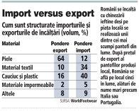 Cum sunt structurate importurile şi exporturile de încălţăminte (volum, %)