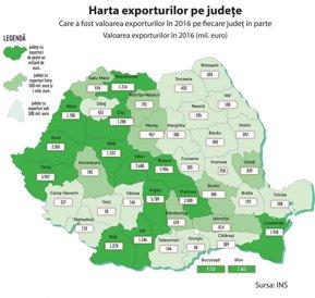 Harta exporturilor pe judeţe: Bucureştiul şi primele cinci judeţe au jumătate din exporturi. Alba se detaşează în topul creşterilor