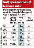 Grafic: Evoluţia rezultatelor financiare şi a numărului de angajaţi ai companiei Vitall în perioada 2011-2016