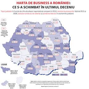 Cum s-a schimbat în ultimul deceniu harta de business a României: economia celor zece judeţe care generează 70% din cifra de afaceri din ţară