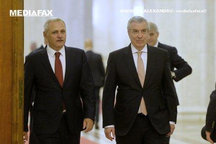 Liviu Dragnea, Călin Popescu Tăriceanu şi alţi lideri din PSD şi ALDE pun la punct ultimele detalii legate de moţiunea de cenzură înainte de şedinţa Biroului Permanent