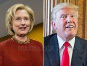 Clinton şi Trump,la egalitate în media sondajelor postdezbatere;Trump conduce în preferinţele de vot