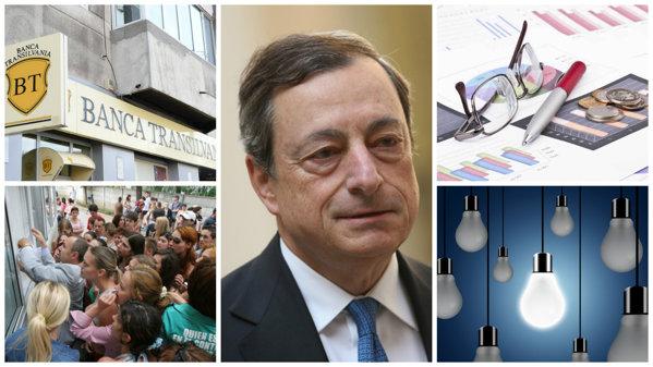 Cele cinci evenimente care au marcat săptămâna: BCE a anunţat că dobânzile euro vor rămâne scăzute; Banca Transilvania a revizuit în scădere creşterea economică din acest an şi din 2017; Absolvenţii de bac, la jumătate în opt ani; Datoria publică a României a crescut cu 20 mld. lei; Preţul energiei a scăzut cu aproape 9%