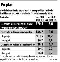 Populaţia şi firmele au depus cu 8% mai mulţi bani la bănci în ianuarie decat în ianuarie 2016