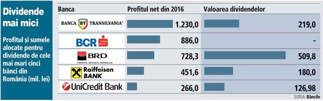 Câţi bani vor ajunge la acţionarii celor mai mari jucători din sectorul bancar. Topul dividendelor acordate de cele mai mari bănci din România din profiturile obţinute anul trecut